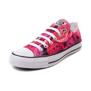 Converse All Star Low Top Rose Print Tennis Shoes
